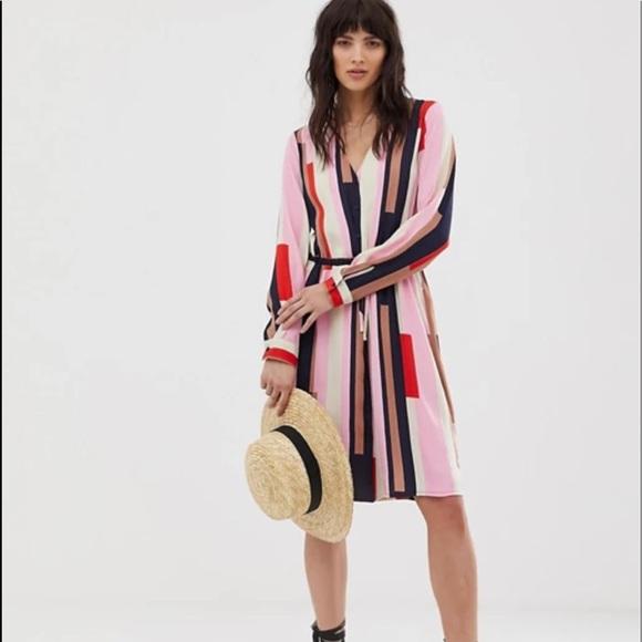 ASOS Striped Midi Shirt Dress with Tie Waist